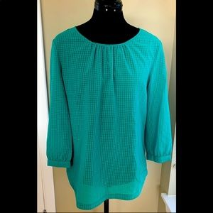 J Crew Green Long Sleeve blouse with light pattern